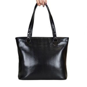 Кожаная сумка ariana chornij детали 1