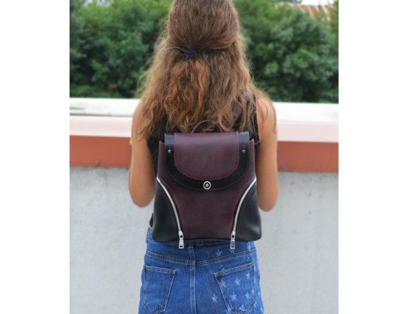 Женский кожаный рюкзак Мони, бордовый детали 2