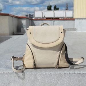Кожаный женский рюкзак Мони Беж детали 2