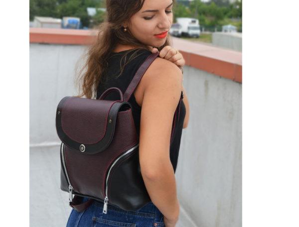 Женский рюкзак из кожи Мони, бордовый детали 4