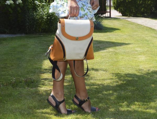 Кожаный женский рюкзак Мони Оранж детали 8