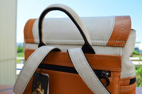 Кожаный женский рюкзак Мони Оранж, детали 5