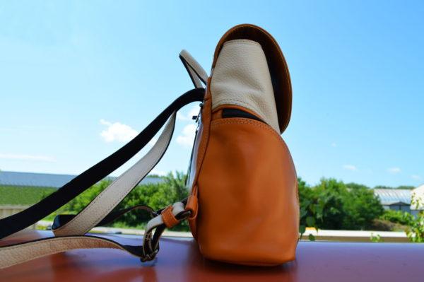 Кожаный женский рюкзак Мони Оранж, детали 3