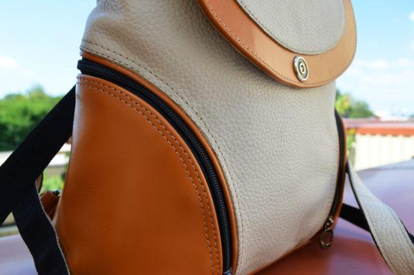 Кожаный женский рюкзак Мони Оранж, детали 4