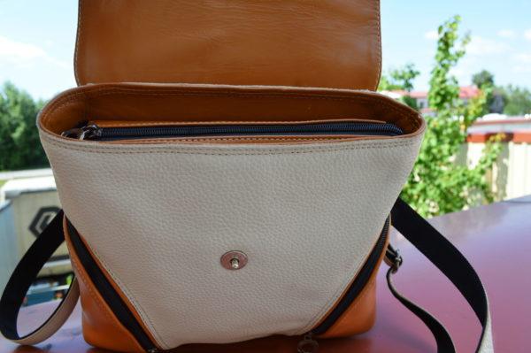 Кожаный женский рюкзак Мони Оранж, детали 6