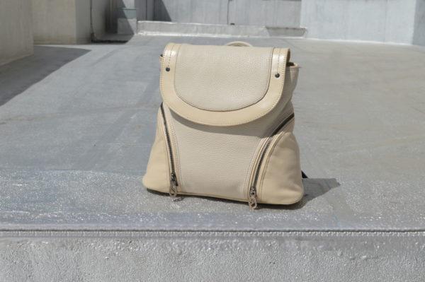 Кожаный женский рюкзак Мони Беж, детали 1