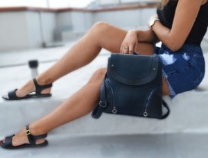 Синий женский рюкзак Мони детали 3