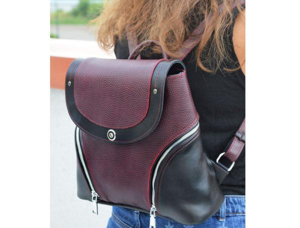 Женский рюкзак Мони, кожа бордовый детали 3