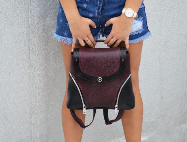 Женский рюкзак Мони, бордовый детали 1