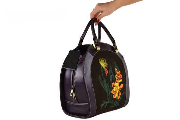Кожаная сумка roomy flower, детали