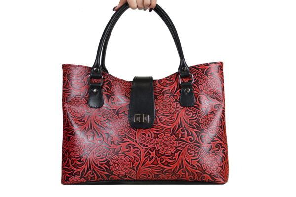 Кожаная сумка rosso-red