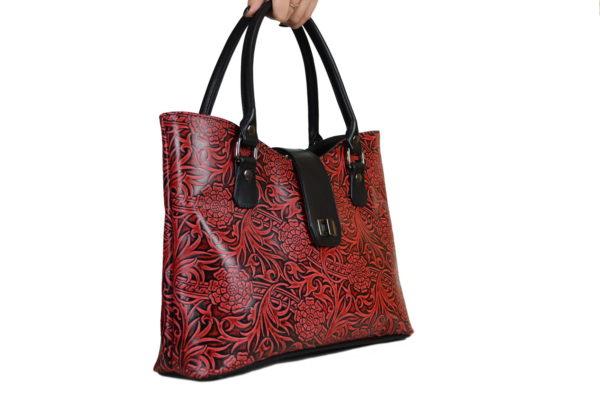 Кожаная сумка rosso-red, детали 4
