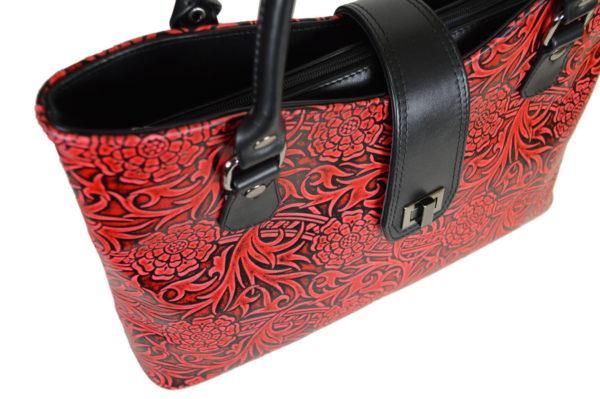 Кожаная сумка rosso-red, детали