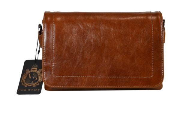Кожаная сумка shinny brown детали 1