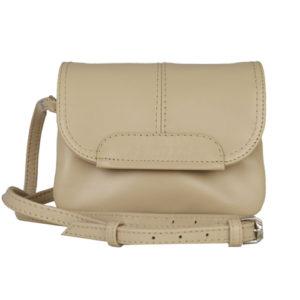 Кожаная женская сумка TRIPOLLY, бежевая детали 3