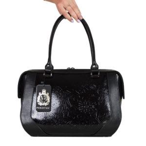 Кожаная сумка yana black3 детали 1